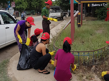 Sanon students participating in community work